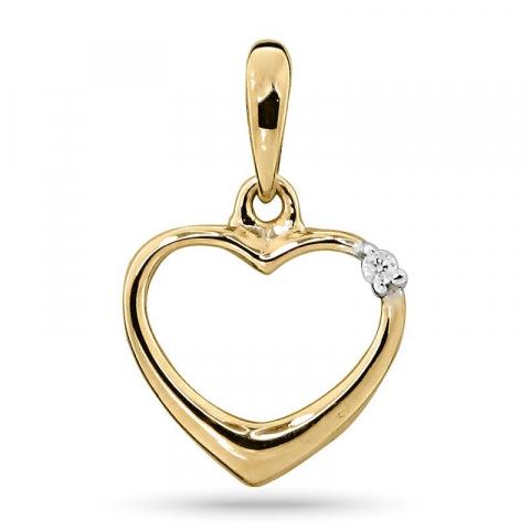Vakkert diamant hjerteanheng i 14 karat gull