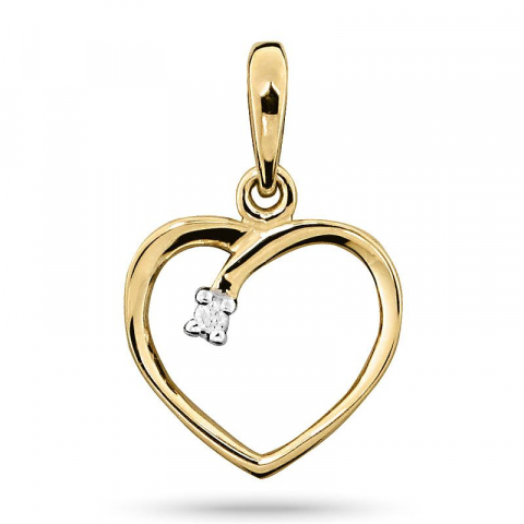 Fint diamant hjerteanheng i 14 karat gull