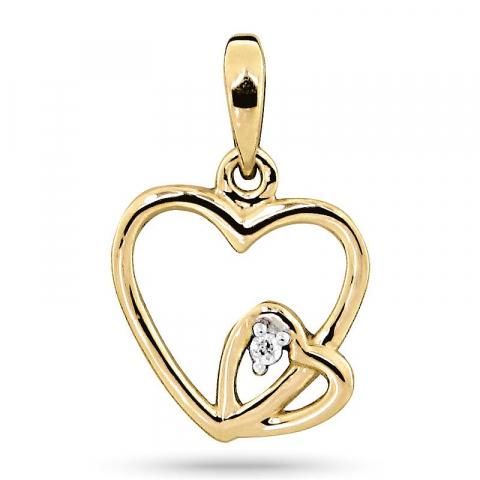 Søtt diamant hjerteanheng i 14 karat gull