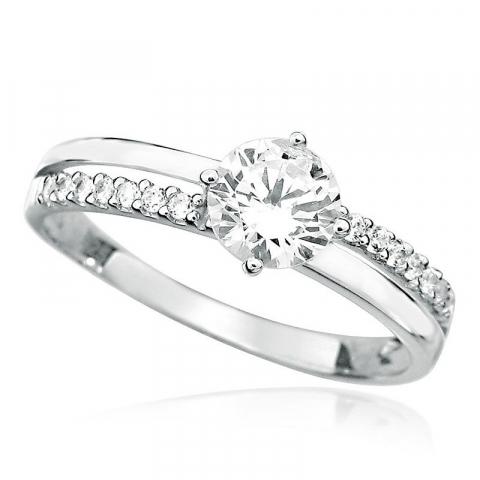 Moderne rund hvit zirkon ring i rodinert sølv