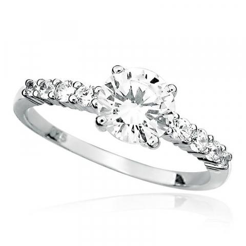 Ringer: rund hvit zirkon ring i rodinert sølv