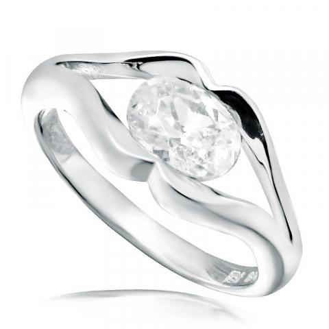 Moderne oval hvit zirkon ring i rodinert sølv