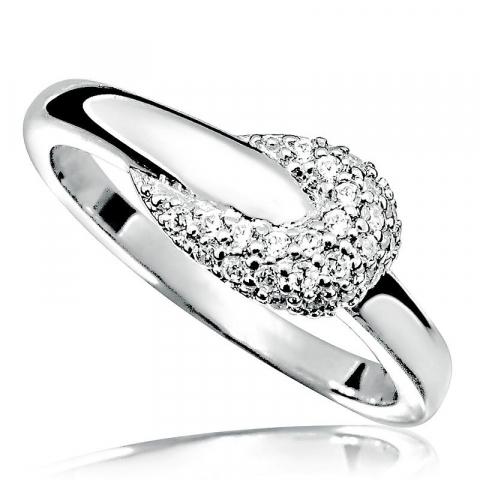 Bedårende abstrakt hvit zirkon ring i rodinert sølv