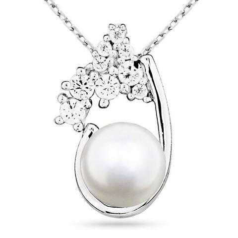 Søtt perle anheng i sølv