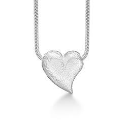 RS of Scandinavia hjerte halskjede med anheng i sølv