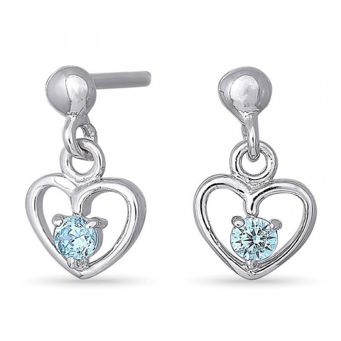 Nordahl andersen hjerte øredobber i rodinert sølv blå zirkoner