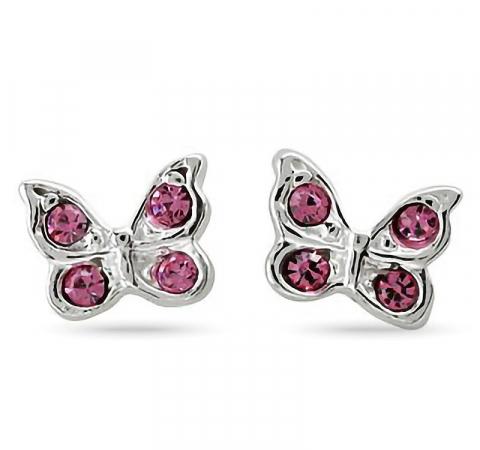 Nordahl andersen sommerfugl øredobber i rodinert sølv rosa zirkoner