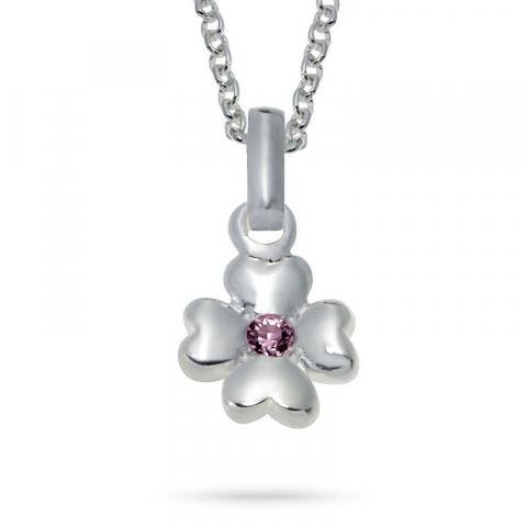 Nordahl andersen blomst anheng med kjede i rodinert sølv rosa zirkon