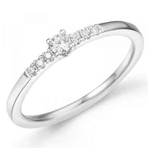 rund diamantring i 14 karat hvitt gull 0,08 ct 0,06 ct