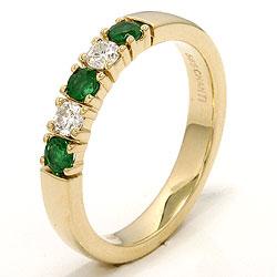 kraftige smaragd alliansering i 14 karat gull 2 x 0,10 ct