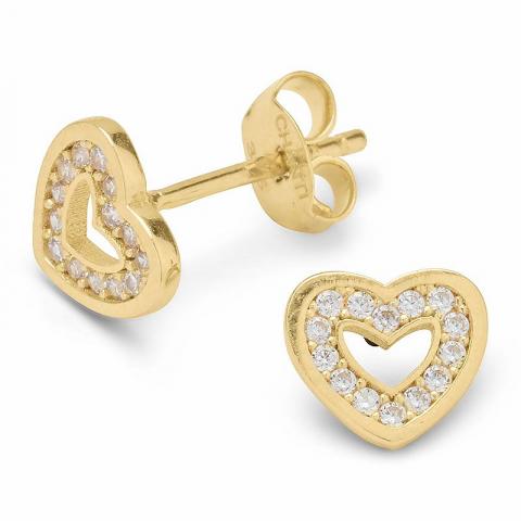 Hjerte ørestikker i 9 karat gull med zirkon