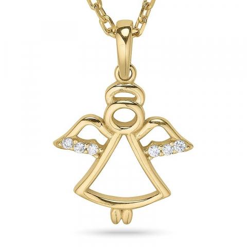 Engel halskjede i forgylt sølv med anheng i 9 karat gull