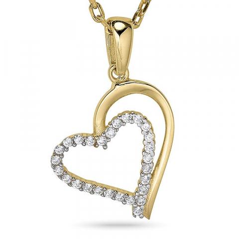 Hjerte halskjede i forgylt sølv med anheng i 9 karat gull