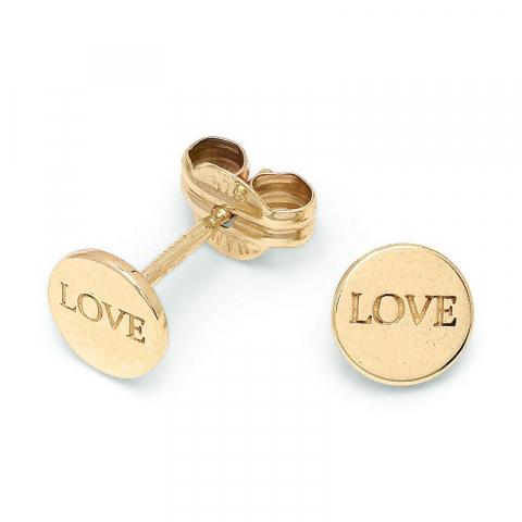 Liten Love ørestikker i 9 karat gull