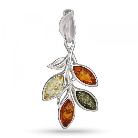 Flott blad multifarget rav anheng i sølv