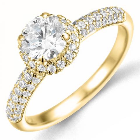 Bestillingsvare - diamantring i 14 karat gull 0,75 ct 0,46 ct