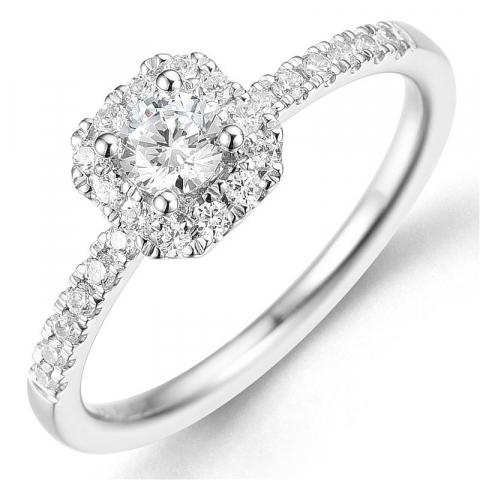 Bestillingsvare - diamantring i 14 karat hvitt gull 0,26 ct 0,24 ct