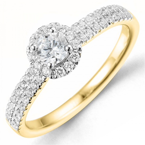 Bestillingsvare - diamantring i 14 karat gull og hvitt gull 0,26 ct 0,29 ct