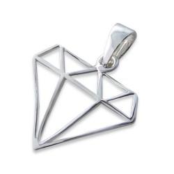 Diamantformet anheng i sølv