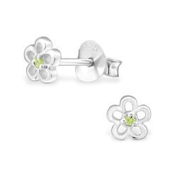 Blomst grønn ørestikker i sølv