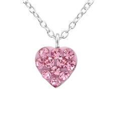 Flott hjerte rosa anheng med halskjede i sølv