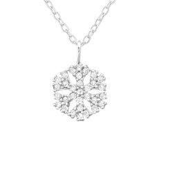 Snøfnugg hvit zirkon anheng med halskjede i sølv