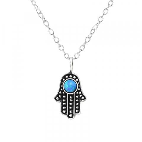 Hamsas hånd blå opal  anheng med halskjede i sølv