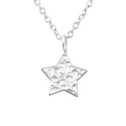 Flott stjerne anheng med halskjede i sølv