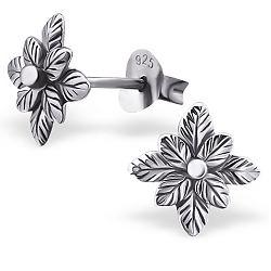 Nydelige blomst øredobber i sølv