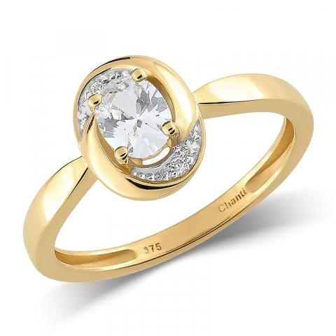 Pen oval hvit zirkon ring i 9 karat gull med rhodium