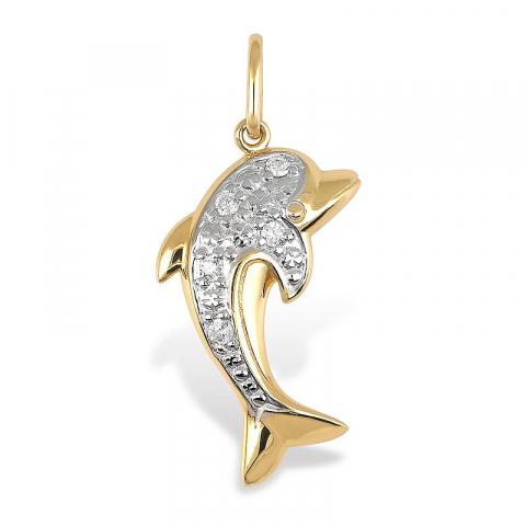 Delfin anheng i 9 karat gull