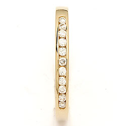 Smal hvit zirkon gull ring i 9 karat gull