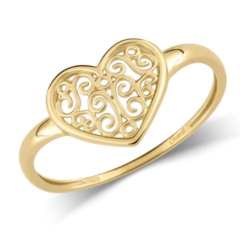 Søt hjerte ring i 9 karat gull