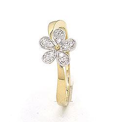 Blomst ring i 9 karat gull og hvitt gull