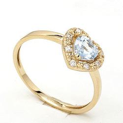 Smal hjerte topas ring i 9 karat gull