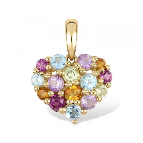 Hjerte lilla zirkon anheng i 9 karat gull