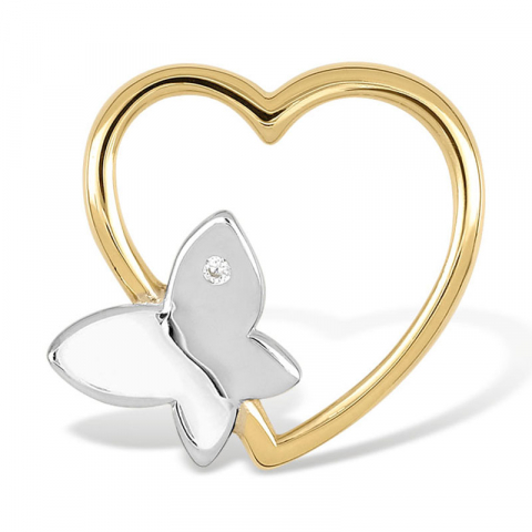 Sommerfugl hjerteanheng i 9 karat gull og hvitt gull