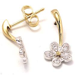 Blomst øredobber i 9 karat gull og hvitt gull med zirkoner