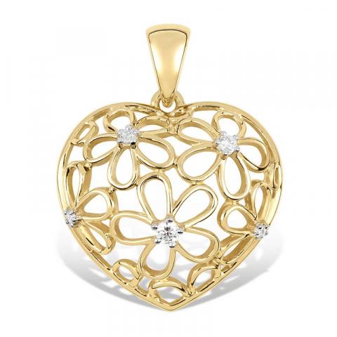Hjerte blomsteranheng i 9 karat gull