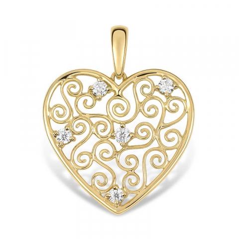 Hjerte anheng i 9 karat gull