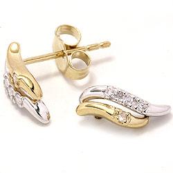 ørestikker i 9 karat gull og hvitt gull med zirkoner