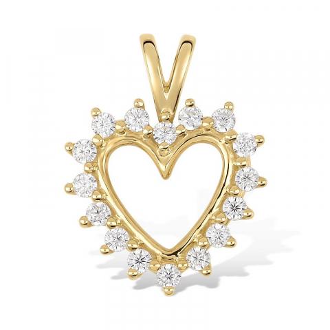 Hjerteanheng i 9 karat gull
