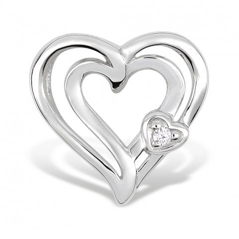 Hjerte anheng i 8 karat hvitt