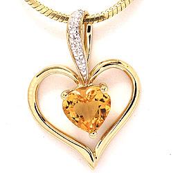 Hjerte citrin anheng i 9 karat gull