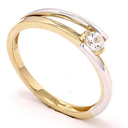 Ekte ring i 9 karat gull og hvitt gull