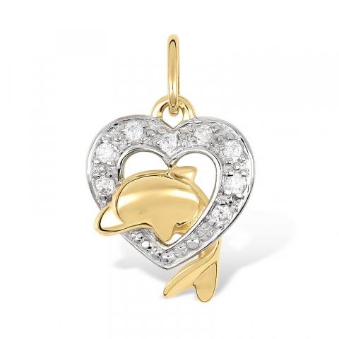 Delfin hjerteanheng i 9 karat gull og 9 karat hvitt gull