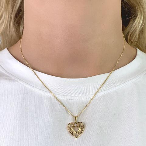 Vakker hjerte zirkon anheng i 8 karat