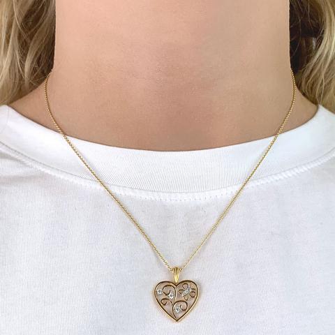 Fin hjerte anheng i 9 karat gull