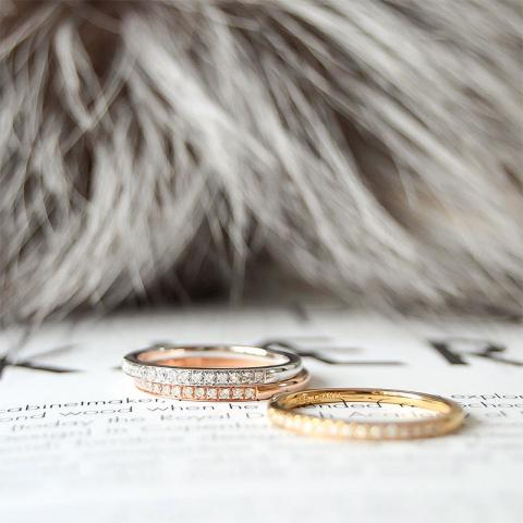 Tre-i-en ring i 14 karat gult, hvitt og rødt gull 0,27 ct