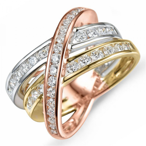 Diamantring i 14 karat gult, hvitt og rødt gull 1,18 ct